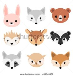 Vector illustration of six faces forest animal. Cartoon animal head icons. Cute forests animals