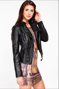 Leather jacket and print minidress