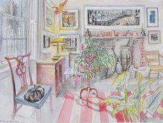 The artist Richard Bawden Drawing Sketches, Drawing Ideas, Drawings, Art Interiors, Cat Art, Printmaking, Screen Printing, Illustration, Cactus