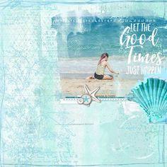 Good Times Just Happen beach scrapbook page with painted photo #designerdigitals