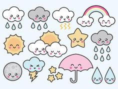High quality vector clipart. Adorable weather vector clip art. Kawaii weather clipart set. Kawaii clipart! This set features kawaii clouds, raindrops, sun, rainbows and more! Perfect for creating greeting cards,invitations, gift wrap and stationery, decorating your blog or