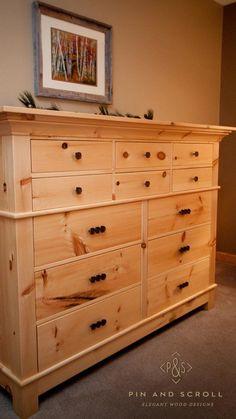 Rustic Pine Bedroom Set Large Knotty Pine Dresser 02