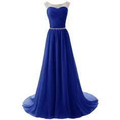 Dressystar Beaded Straps Bridesmaid Prom Dress with Sparkling... ($70) ❤ liked on Polyvore featuring dresses, gowns, long dresses, vestidos, robe, beaded gown, blue prom gown, bridesmaid dresses, blue dress and sparkly prom dresses