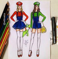 Mario & Luigi [both as females feat. Yoshi] (Fashion by WillMatos @Instagram) #Mario