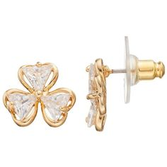 Napier Cubic Zirconia Nickel Free Clover Stud Earrings (1400 ALL) ❤ liked on Polyvore featuring jewelry, earrings, gold, cubic zirconia jewelry, cz jewelry, cubic zirconia earrings, clover earrings and clover jewelry