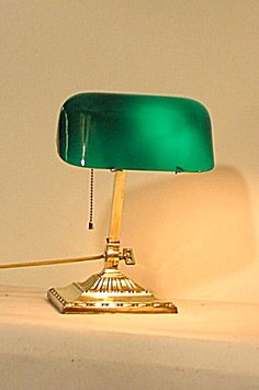 Classic Bankers Lamp With Glass Green Shade Is Hand Made In ...