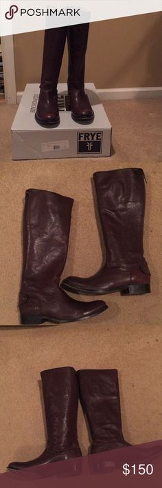 Frye boots Melissa Button with Original box Melissa Button Back ZIP Boots Style# 76430Color Dark Brown. Size 9M. Absolutely gorgeous. Worn one season. I purchased these new at the Frye Store in DC. The leather is in very good used condition. Minimal signs of wear. Both toes are scratched and the right tow has more scratching than the left toe. Please zoom pictures so you can see. The shaft is in great condition and the buttons operate well. Some wear the the heals but slight in my opinion. I…