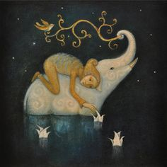 'There are flowers that open only at night, perfume is pure magic' - illustration by Lucy Campbell Art And Illustration, Elephant Illustration, Fantasy Kunst, Fantasy Art, Watercolor Paintings, Original Paintings, Abstract Paintings, Art Paintings, Abstract Oil