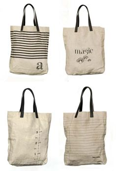 Cute bags...could try to recreate these patterns w/ paint
