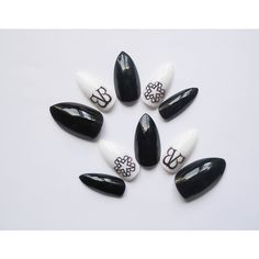 Black Veil Brides, Fake Nails, Black Nails, Stiletto Nails, Almond... ($21) ❤ liked on Polyvore featuring beauty products, nail care, nail treatments, nails, makeup y black veil brides