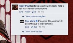 The 'Star Wars' Facebook page just replied obviously and correctly to a sexist comment.
