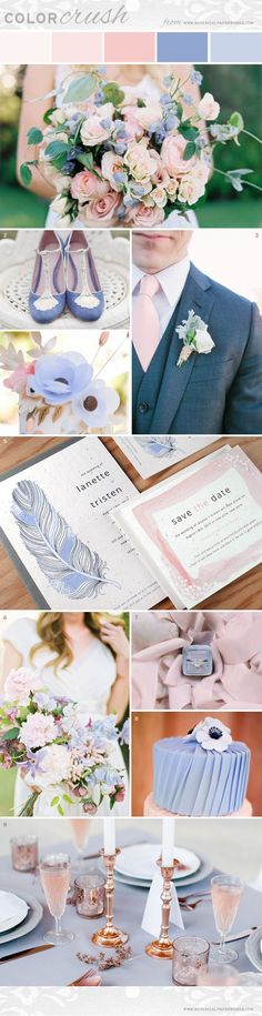 Soft and feminine, the Rose Quartz and Serenity color palette is a beautiful choice for spring and summer weddings