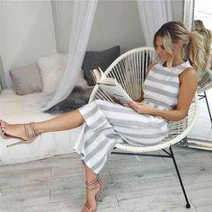 Grey Striped Jumpsuit #summerstyle #jumpsuit #ootd