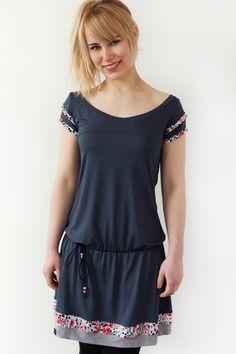 *** Jersey Kleid - dunkelgrau - Blumen
