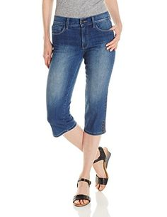 NYDJ Womens Petite Ariel Cropped Jeans with Rhinestone Slit Whittier Wash 4P *** Click image to review more details.