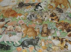 Springbok Cats Cats Cats Cats Cats! 1000 piece jigsaw puzzle is a cat lover's puzzle for sure! #cats #springbok #puzzles