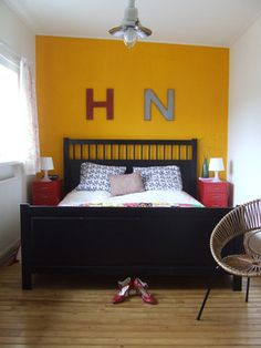 mustard wall, red/grey accents