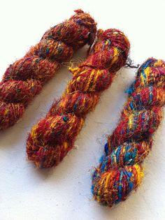 more recycled handspun silk sari yarn