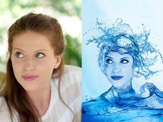 Blue, Water splashed, woman, Adobe Photoshop. Before and after edits on Photoshop. projects by Tay Ashton