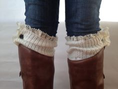 OFF WHITE button down lace knit boot cuffs  by Detroittextilemill, $18.00