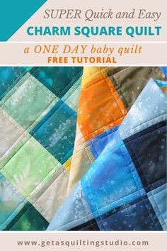 "Quick and Easy Charm Square Quilt Tutorial by Geta Grama, If you need a baby quilt for today or tomorrow, this project is for you! Here is what you need for a 40"" x 50"" quilt: 99 x 5"" squares"