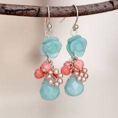 Carved  Amazonite Flower and Drop, Coral, Freshwater Pearl Rose Earrings, Dangle Earrings, Sterling Silver Wire Wrapped Earrings