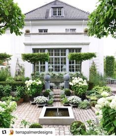 """""""Sunken Garden"""" is straight out of a fairytale 😍 We love how abstract all of the different plants are, such as those like the umbrella-formed trees called Carpinus betulus. Share your flourishing garden with us using Back Gardens, Outdoor Gardens, Sunken Garden, Backyard Lighting, Garden Types, Garden Cottage, White Gardens, Garden Spaces, Dream Garden"""