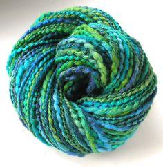 Handspun Yarn Hand Dyed BFL Wool Super Bulky Yarn 165 yards - Emerald Pool