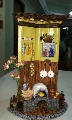 Telha decorativa, cozinha da roça com fogão à lenha.