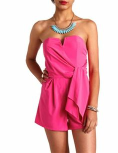Notched Wrap-Front Strapless Romper: Charlotte Russe