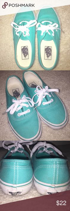 Mint Green Vans Mint green vans! Worn only few times, no damages :) slight scuffs on sole. Size 5 in men's & size 6.5 in women's. Vans Shoes Sneakers