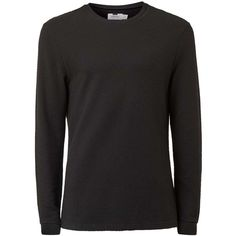 TOPMAN Black Textured Long Sleeve T-Shirt ($27) ❤ liked on Polyvore featuring men's fashion, men's clothing, men's shirts, men's t-shirts, black, mens slim fit long sleeve t shirts, mens cotton t shirts, j crew mens shirts, mens long sleeve cotton shirts and mens cotton shirts