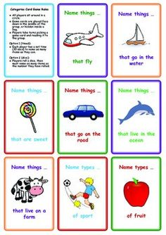 FREE Categories Card Game: Name Things That ...  Repinned by www.preschoolspeechie.com
