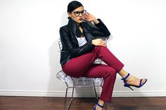 "Magenta Pants and cobalt blue stripy heels. In the NEW Article: ""My Fashion Resolution""→ http://sociallyshoppable.com/style/?p=11971 author, Nathalie, (of www.woahstyle.com)."