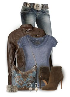 Blue Jean Beauty! by colierollers on Polyvore featuring PINK MEMORIES, Miss Me, Vince Camuto, American West and Me&Ro