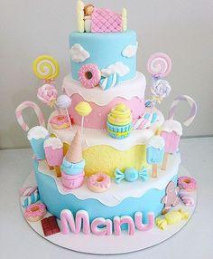 Birthday Girl Cake Ideas Inspiration 70 Ideas For 2019 Candy Theme Birthday Party, Candy Birthday Cakes, Birthday Cake Girls, Birthday Cupcakes, Princess Birthday, Candy Theme Cake, Dessert Party, Cupcake Party, Cupcake Cakes