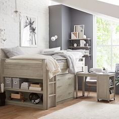 Sturdy and stylish, our GREENGUARD Gold Certified Sleep + Study® Low Loft Bed is the ultimate design for small spaces and low ceilings. Keep all of your essentials within arm's reach with a dresser, compact pull-out desk Teen Girl Bedrooms, Teen Bedroom, Bedroom Decor, Small Loft Bedroom, Teenage Girl Room Decor, Attic Bedrooms, Girl Rooms, Teen Bedding, Bedding Sets