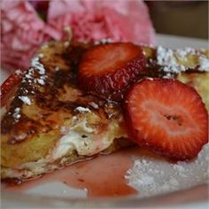 Strawberry Cheesecake French Toast  - Allrecipes.com I'm totally trying this