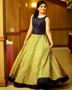 Pic credits: Girilal gopi Source by Half Saree Designs, Lehenga Designs, Saree Blouse Designs, Long Gown Dress, Anarkali Dress, The Dress, Indian Designer Outfits, Designer Dresses, Long Skirt And Top