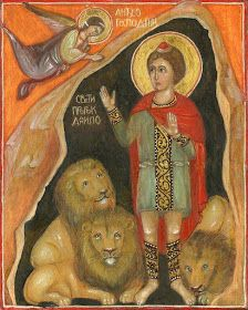 Daniel the Prophet in Lion's Den Religious Paintings, Religious Art, Christian Symbols, Christian Art, Lion Icon, Byzantine Icons, Byzantine Jewelry, Church Icon, Lives Of The Saints
