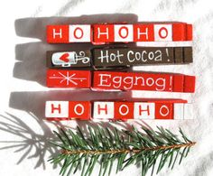 CHRISTMAS CLOTHESPINS hand painted magnetic pegs by SugarAndPaint, $11.00