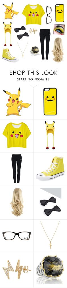 """""""Pikachu"""" by gracelovesanimals ❤ liked on Polyvore featuring York Wallcoverings, CellPowerCases, Converse, Boohoo, Ray-Ban, Gioelli and Tacori"""
