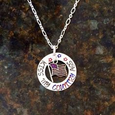 Kiss My Country Ass Handmade Hand-stamped Alkeme Impressart Necklace with American Flag Charm by AWorkOfHeartJewelry on Etsy https://www.etsy.com/listing/236501598/kiss-my-country-ass-handmade-hand