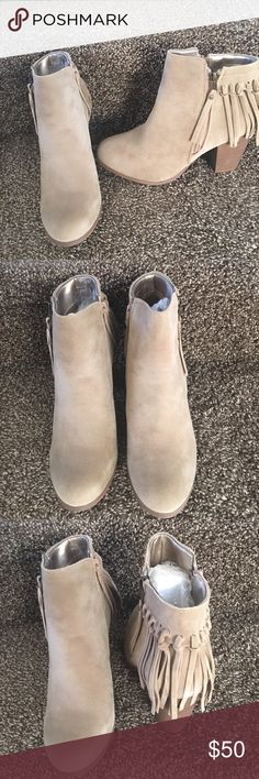 Ladies suede heels ankle boot. Beige color. NIB Very stylish ladies booties, 3 inches heels. Super comfy, sides zipper, suede material. Beige color. New in box. No trades ADRIANA Shoes Ankle Boots & Booties
