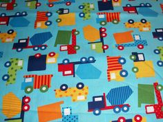 Trucks; Ready Set Go Work Cotton Crib/toddler Fitted Sheet