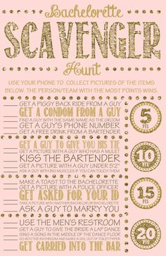 Bachelorette party games are the key to having a great time! We have 20 rocking ideas: bachelorette scavenger hunt, quiz and other hen games! Bachelorette Scavenger Hunt, Bachelorette Party Games, Bachelorette Weekend, Bachelorette Party Checklist, Bachelorette Party Pictures, Bachelor Party Games, Bachelor Parties, Bachlorette Party, Hen Party Games