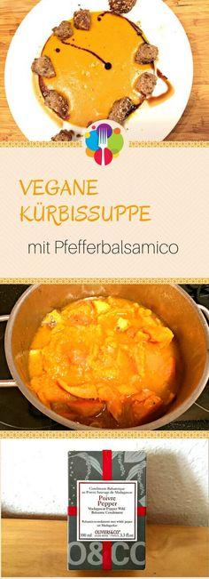 Vegane Kürbissuppe mit Pfefferbalsamico und Rosmarincroutons - Vegalife Rocks: www.vegaliferocks.de✨ I Fleischlos glücklich, fit & Gesund✨ I Follow me for more vegan inspiration @vegaliferocks
