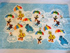 VTG 1990 Sesame Street characters Parachuting Pillowcase Cookie Monster Ernie