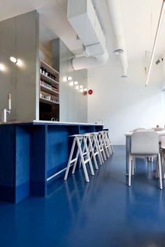 Painted plywood, how great is that? Love the flooring as well! - Scott and Scott Architects, Kin Kao Thai Kitchen