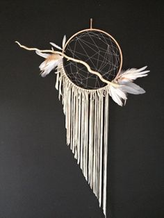 Dream Catcher Natural and Pale blue/grey by ReverieDreamCatchers, $200.00: